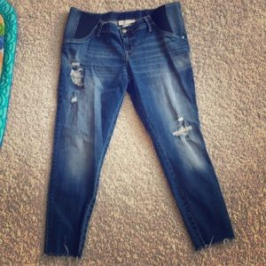 Distressed Maternity Crop Jeggings- Size 14